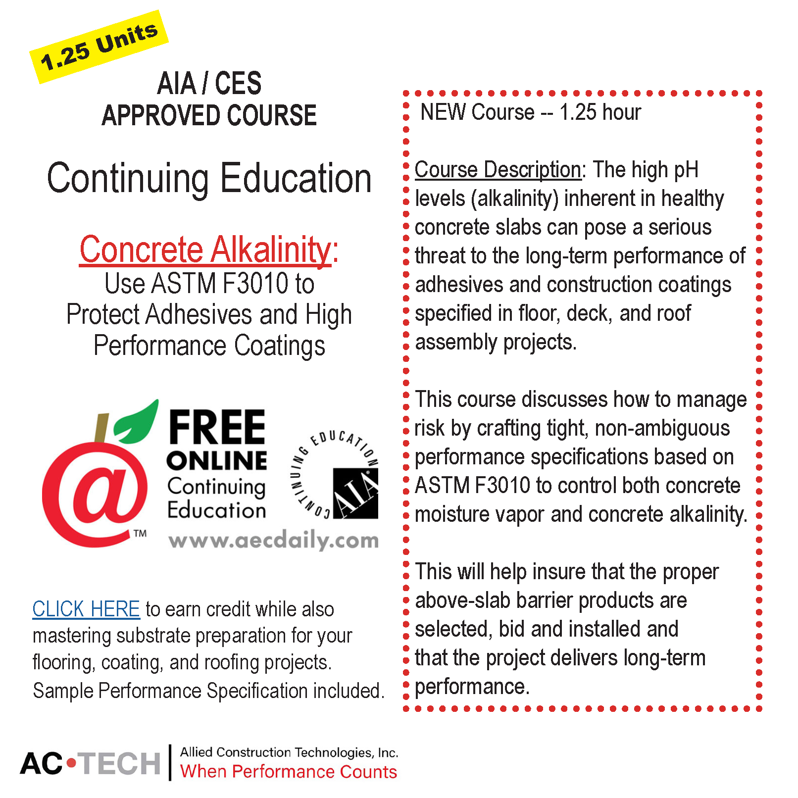 Actech actech support for astm f3010 compliant moisture available 247 through aecdaily here the course is free and qualifies for aia hsw state credit and many other association approvals falaconquin